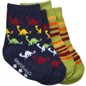 Babylegs Organic Cotton Socks 2 pack - Jurassic Stripe