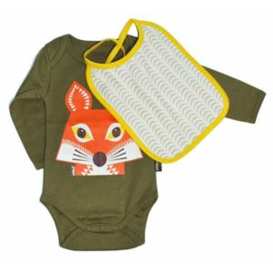 Coq en Pate Mibo Bodysuit and Bib - Khaki Fox