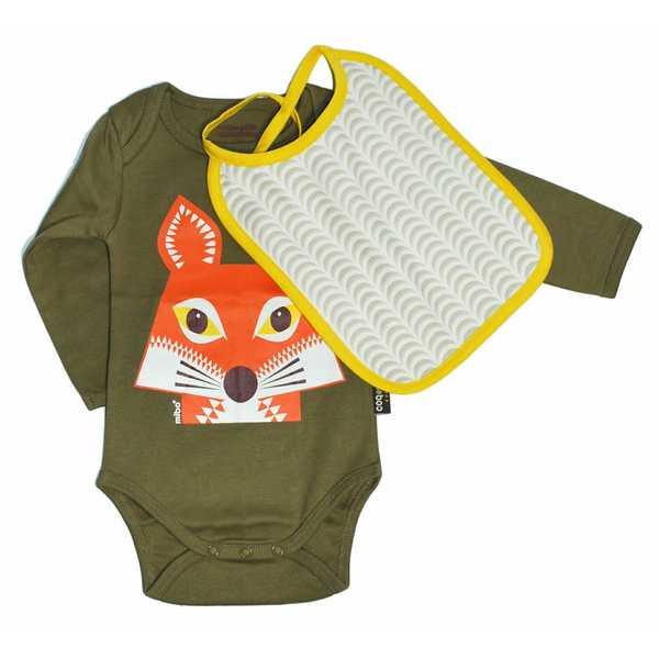 Coq en Pate Mibo Bodysuit and Bib - Khaki Fox
