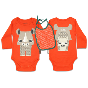 Coq en Pate Mibo Bodysuit and Bib - Orange Rhino
