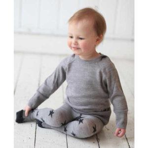 Merino Kids Superfine Merino Wool Tights - Grey Stars