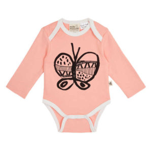 NEW Milk & Masuki Girls Long Sleeve Bodysuit - Pink Butterfly