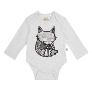NEW Milk & Masuki Long Sleeve Bodysuit - Grey Fox
