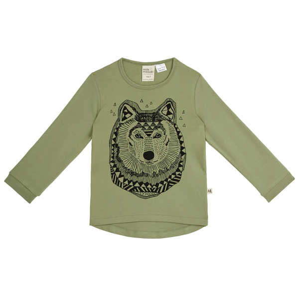 NEW milk & masuki Boys Long Sleeve Tee - Sage Wolf