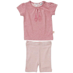 Purebaby 34 Legging PJ Set - Posie Melange with Shell Stripe