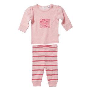 Purebaby Girls 2 Piece PJ Set - Dusk Pink Melange  Nova Stripe
