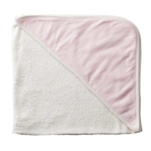 Purebaby Hooded Towel - Tiny Pink Stripe