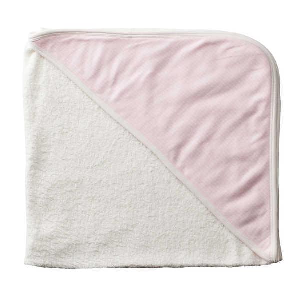 Purebaby Hooded Towel - Tiny Pink Stripe