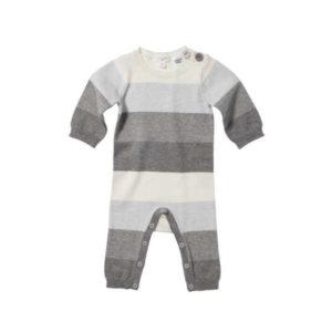 Purebaby Knitted Growsuit - Grey Multi Stripe