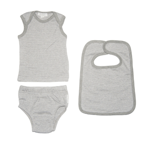 Purebaby Newborn 3 Piece Gift Set - Grey Stripe