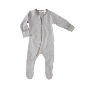 Purebaby Zip Growsuit - Grey Stripe