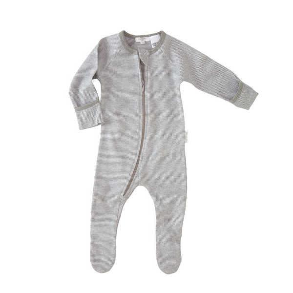 Purebaby Zip Growsuit - Grey Stripe