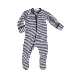 Purebaby Zip Growsuit - Navy Stripe