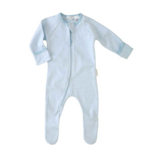 Purebaby Zip Growsuit - Pale Blue Stripe