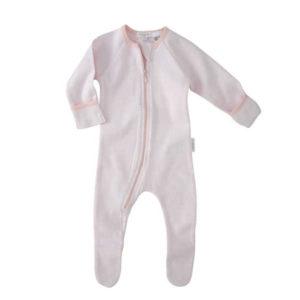 Purebaby Zip Growsuit - Pink Stripe