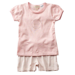 Purekids Girls Shorty PJ Set - Musk Melange Stripe