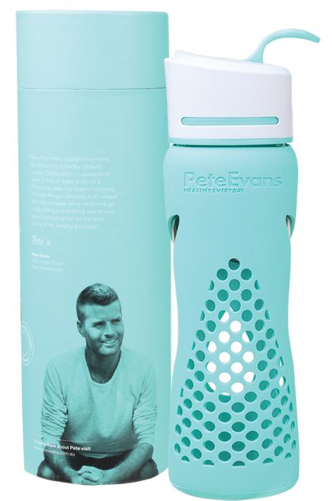 Pete Evan's Little Penguin glass drink bottle 500ml-Aqua